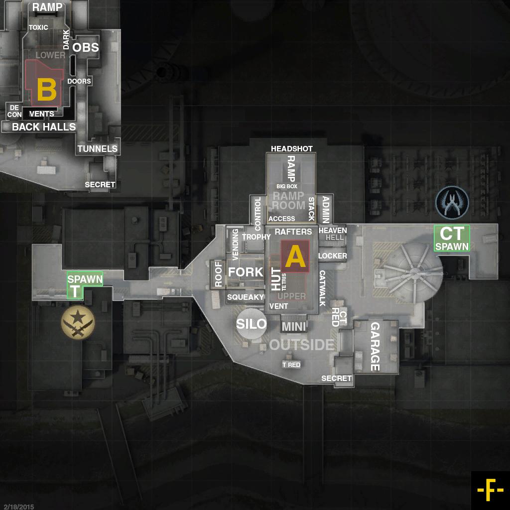 Название позиций на карте De_Nuke