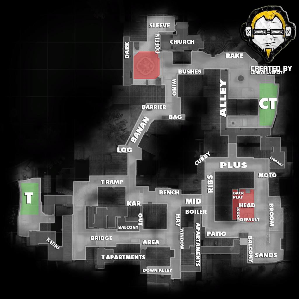 Название позиций на карте De_Inferno
